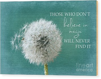 Wood Print featuring the photograph Those Who Dont Believe In Magic by Sylvia Cook