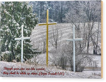 Though Your Sins Are Like Scarlet - They Shall Be White As Snow - From Isaiah 1.18 Wood Print by Michael Mazaika