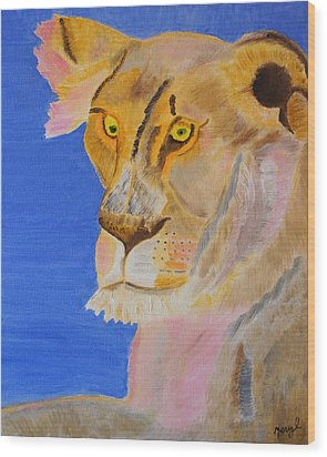 Thoughts Of A Feline Wood Print by Meryl Goudey