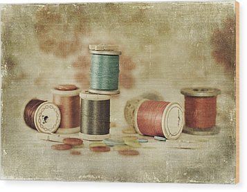 Threads And Buttons Wood Print by Sofia Walker