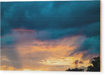 Threatening Skies At Sunset Wood Print by Optical Playground By MP Ray