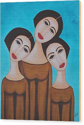 Three Angels Wood Print by Sonali Kukreja