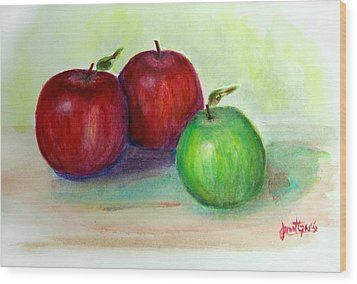 Three Apples Wood Print by Janet Garcia