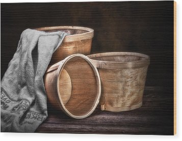 Three Basket Stil Life Wood Print by Tom Mc Nemar