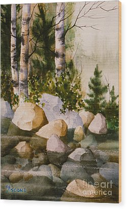 Three Birch By Rocky Stream Wood Print