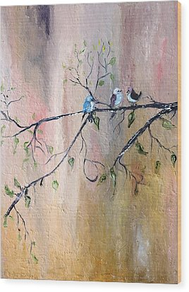 Three Birds Wood Print by Evelina Popilian