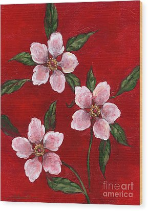 Three Blossoms On Red Wood Print