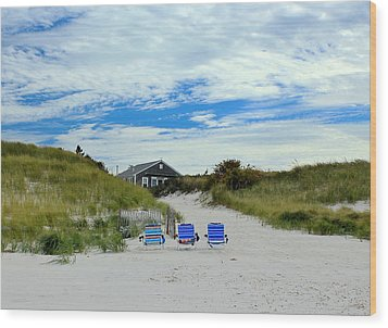 Wood Print featuring the photograph Three Blue Beach Chairs by Amazing Jules