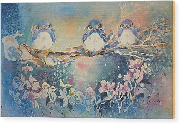 Three Blue Birds Wood Print by Mary Haley-Rocks