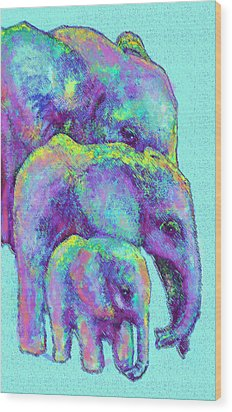 Three Blue Elephants Wood Print by Jane Schnetlage
