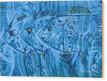 Wood Print featuring the mixed media Three Blue Fish by Patricia Januszkiewicz