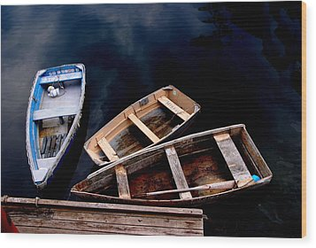 Wood Print featuring the photograph Three Boats In Rockport Mass by Jacqueline M Lewis