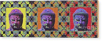Three Buddhas 20130130 Wood Print by Wingsdomain Art and Photography