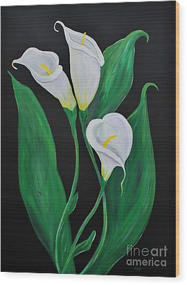 Wood Print featuring the painting Three Calla Lilies On Black by Janice Rae Pariza