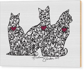 Wood Print featuring the drawing Three Cats by Melissa Sherbon