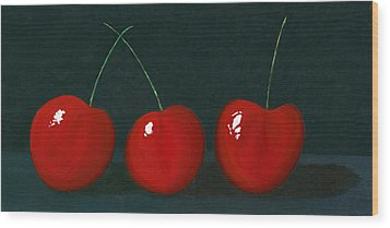 Three Cherries Wood Print by Karyn Robinson