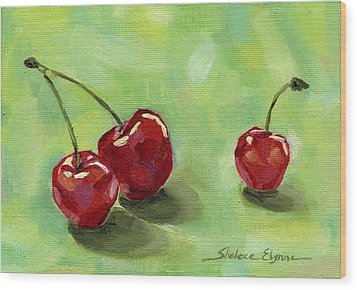 Three Cherries Wood Print by Shalece Elynne