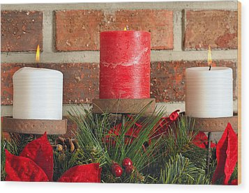Three Christmas Candles Wood Print by Kenneth Sponsler
