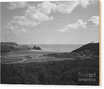 Three Cliffs Bay Wood Print