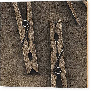 Three Clothes Pins Wood Print by Bob RL Evans