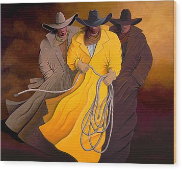 Wood Print featuring the painting Three Cowboys by Lance Headlee