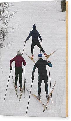 Three Cross Country Skiers. Wood Print