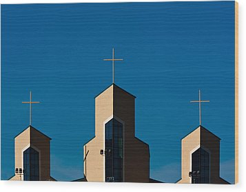 Wood Print featuring the photograph Three Crosses Of Livingway Church  by Ed Gleichman