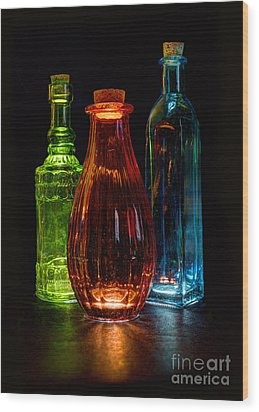 Three Decorative Bottles Wood Print by ELDavis Photography