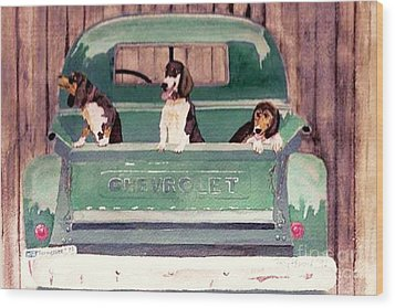 Three Dogs And A Truck Wood Print by Polly Peacock