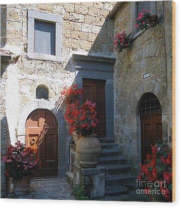 Three Doors In Bagnoregio Wood Print by Barbie Corbett-Newmin