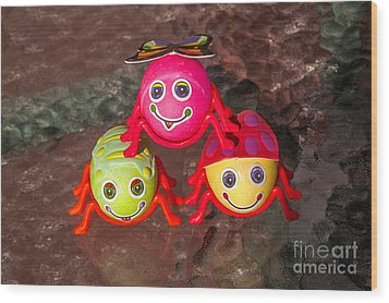 Three Easter Egg Bugs Wood Print by Sue Smith
