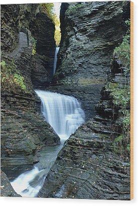 Three Falls In Watkins Glen Wood Print by Joshua House