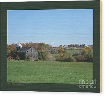 Three Farms In Autumn Wood Print by Patricia Overmoyer
