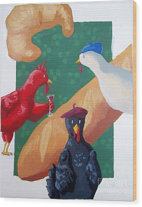 Three French Hens Wood Print by Whitney Morton