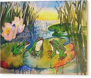 Three Frogs Wood Print