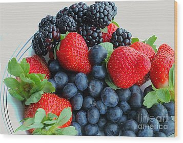 Three Fruit 2 - Strawberries - Blueberries - Blackberries Wood Print by Barbara Griffin