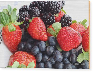 Three Fruit Closeup - Strawberries - Blueberries - Blackberries Wood Print by Barbara Griffin