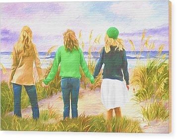 Three Girls At The Beach Wood Print