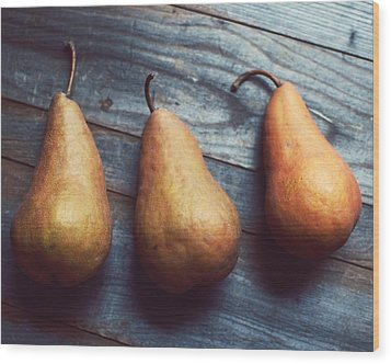Three Gold Pears Wood Print by Lupen  Grainne