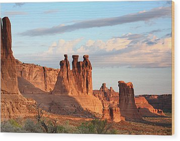 Three Gossips In Arches National Park Wood Print