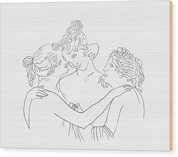 Wood Print featuring the drawing Three Graces by Elizabeth Lock