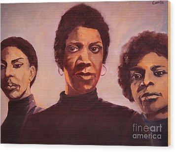 Three Graces One Wood Print by Carrie Joy Byrnes