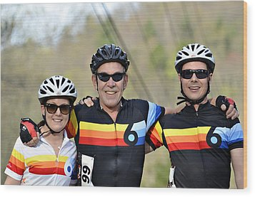 Three Gran Fondo Riders Wood Print by Susan Leggett