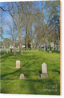 Three Gravestones Wood Print by Alys Caviness-Gober