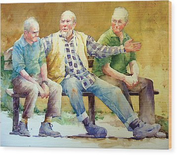 Three Guys On A Bench Wood Print by Janet Flom
