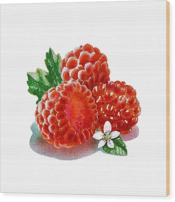 Wood Print featuring the painting Three Happy Raspberries by Irina Sztukowski