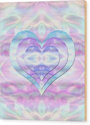Three Hearts As One Wood Print