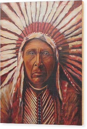 Three Horses, Native American  Wood Print