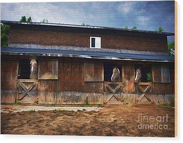 Three Horses In A Barn Wood Print by Dan Friend