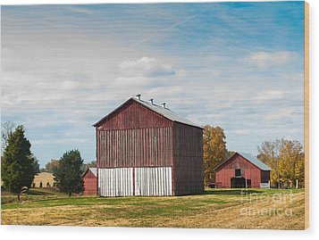 Wood Print featuring the photograph Three In One Barns by Debbie Green